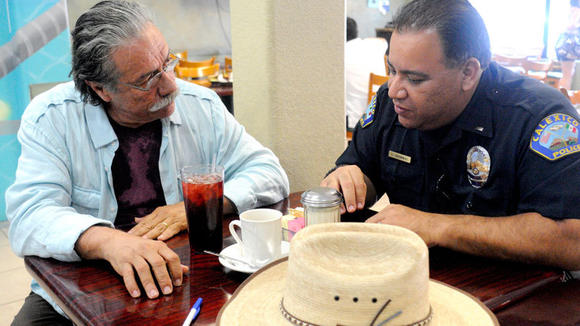 Actor Edward James Olmos (left) and Calexico Police Lt. Gonzalo Gerardo