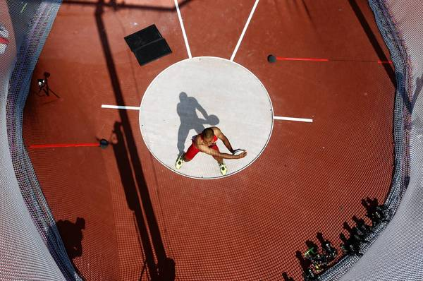 Ashton Eaton competes in the Men's Decathlon discus throw event at the London 2012 Olympic Games.