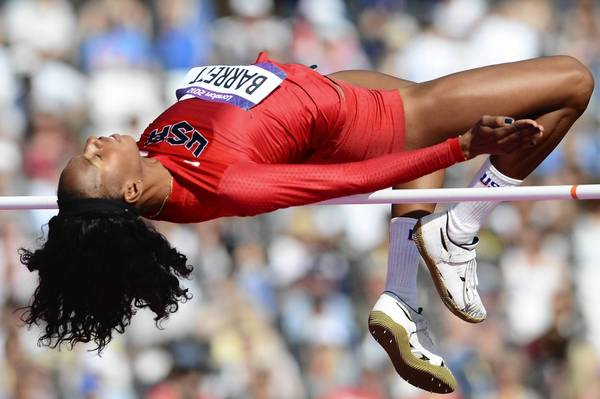 U.S. high jumper Brigetta Barrett competes in one of the Women's High Jump qualifying rounds at the London 2012 Olympic Games