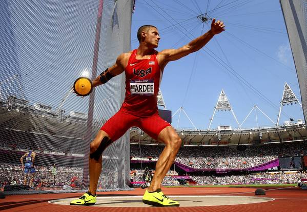 U.S. decathlete Trey Hardee in the Men's Decathlon discus throw on Day 13 of the London 2012 Olympic Games.