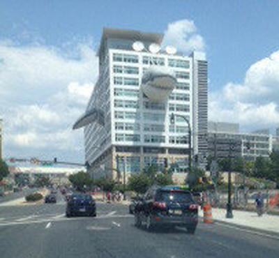 The Discovery Communications building in Silver Spring, decked out as a shark in anticipation of Shark Week.