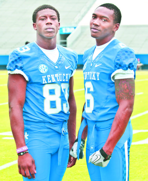Freshmen receivers Demarcus Sweat, left, and A.J. Legree both believe they can not only be contributors, but big-time playmakers for Kentucky this season.