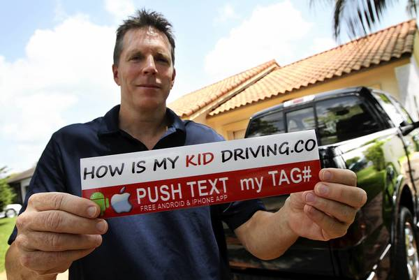 "Mike McManigal, creator of the ""How's My KID Driving?"" bumper sticker program at his Cooper City home. McManigal created an app that allows parents to seek feedback on their kids' driving performance, aided by a bumper sticker that says, ""How's My KID Driving?"""