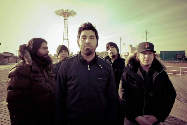 The Deftones (left to right): Stephen Carpenter, Sergio Vega, Chino Moreno, Frank Delgado and Abe Cunningham.