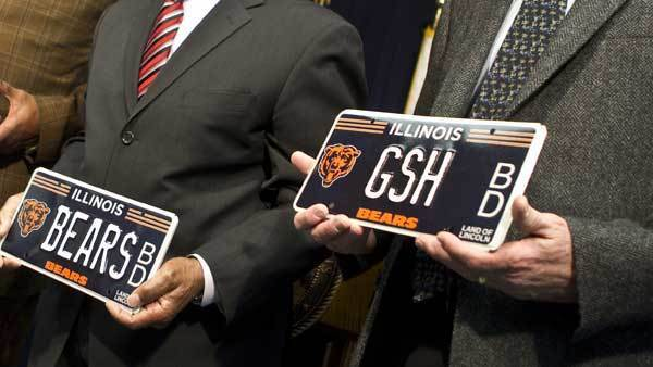 Bears license plates on display in March 2011. Team plates will now be available for motorcyles.