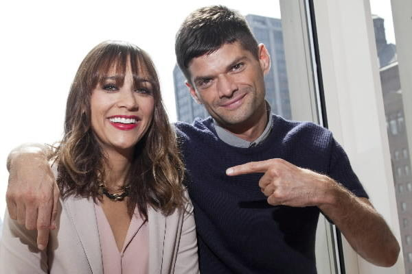 "Rashida Jones and Will McCormack, co-writers of the new movie ""Jessie and Celeste Forever,"" pose for photos at the Peninsula Hotel in Chicago."