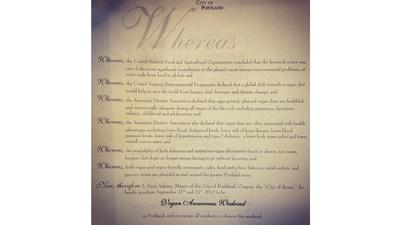 Portland Mayor Declares September 22-23 'Vegan Awareness Weekend'