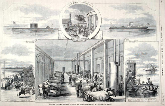This Civil War image published in the New York Illustrated News shows the improvised surgical ward created by Union doctors after they commandeered the dining room of the Hygeia Hotel at Fort Monroe for use as
