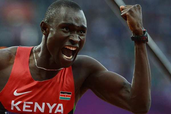 Kenya's gold medalist David Lekuta Rudisha on Thursday won the men's 800 meters in a world record time of 1:40.91.