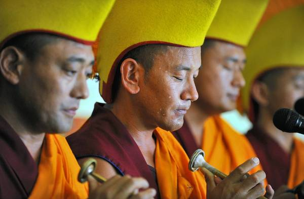 Tibetan monks bless Musikfest grounds in Bethlehem earlier this month to keep the area safe from the floods that plagued the festival last year.