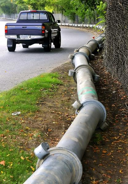 A pipeline runs along Burhans Boulevard in Hagerstown during a sewage project.