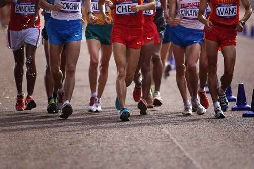 Calling all mall walkers! You have a shot at Olympic gold! Racewalking is a long-distance foot race, but don't take off running. One foot must be in contact with the ground at all times.