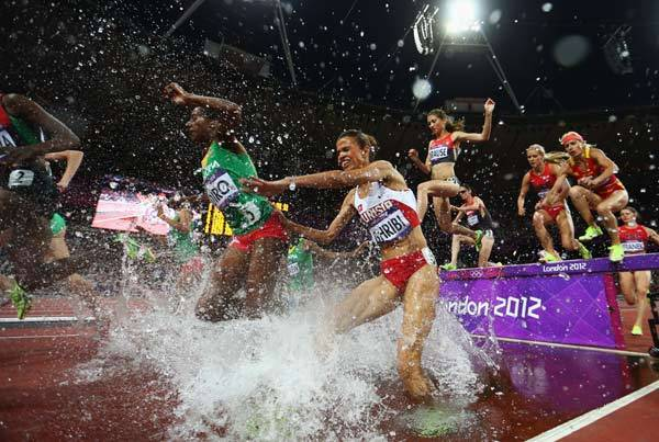 Steeplechase -- not just for horses anymore. The steeplechase is a 3,000 meter foot race with 28 barriers that must be cleared and seven water jumps.
