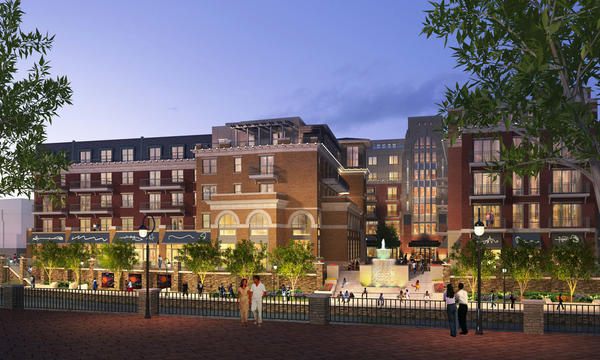 An artist's conception of the Water Street development in Naperville as presented in June 2012, before the latest modifications.