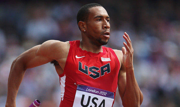 U.S. sprinter Bryshon Nellum competes in the men's 4 x 400-meter relay heat at the London Olympics.