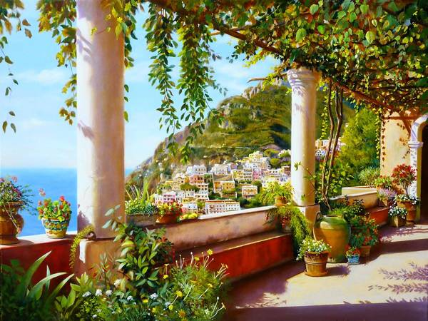 "Artist Eye Laguna Gallery presents Giorgio Dimichina as its featured artist for the month. An artist reception will be from 6 to 9 p.m. Aug. 18. Ten percent of sales from Dimichina's art will be donated to the group, Art and Creativity for Healing. Pictured here is the artist's ""View of Positano."""