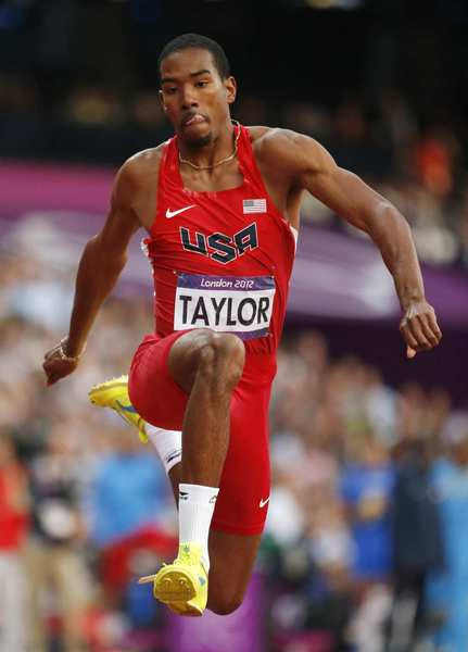 U.S. athlete Christian Taylor competes in the men's triple jump final where he eventually finished with a gold medal.
