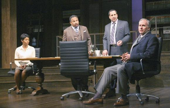 "Susan (Tamberla Perry), Henry Brown (Geoffrey Owens), Jack Lawson (Marc Grapey) and Charles Strickland (Patrick Clear) in David Mamet's play ""Race"" at the Goodman Theatre."