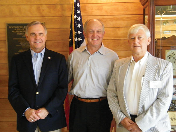 "From left, Richard Keesecker, chairman of the Boonsboro Economic Development Commission; Lester S. ""Casey"" Willson, speaker at the EDC's July meeting; and George Messner, vice chairman of the Boonsboro EDC, are shown at the group's July meeting at the Boonsboro Free Library."