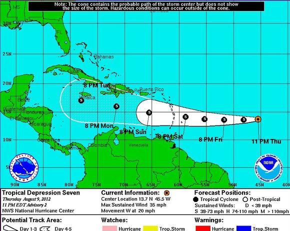 Tropical Depression 7 is projected to grow into a tropical storm and aim toward the Caribbean.