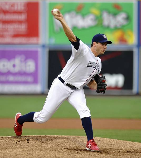 IronPigs' #19 Austin Hyatt pitches in the baseball game against the Buffalo Bisons held at Coca-Cola Park on Thursday.