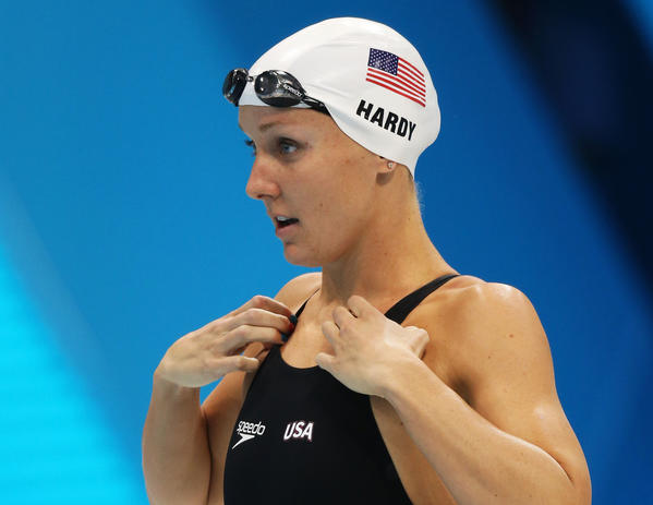 Jessica Hardy of the United States gets set to compete in heat 5 of the Women's 100m Freestylel on Day 5 of the London 2012 Olympic Games at the Aquatics Centre on August 1, 2012 in London, England.