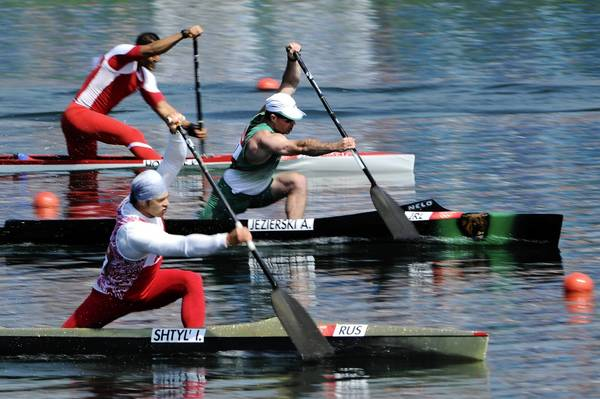 Ivan Shtyl' of Russia and Andrzej Jezierski of Ireland compete in the Men's Canoe Single (C1) 200m Sprint semifinals on Day 14 of the London 2012 Olympic Games.