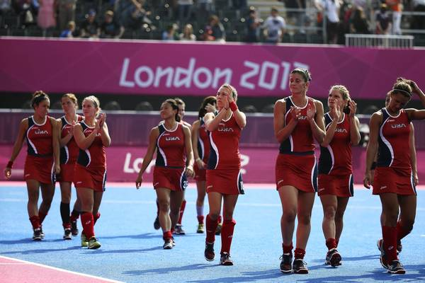 Team USA walks a lap to acknowledge supporters after losing thier Women's Hockey classification match with Belgium at the the Riverbank Arena Hockey Centre in the London 2012 Olympic Games. Belgium defeated the U.S. by 2:1.