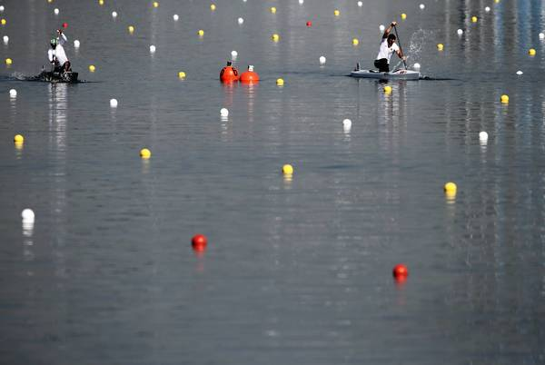 Sebastian Brendel (R) of Germany competes in the Men's Canoe Single (C1) 200m Sprint heats on Day 14 of the London 2012 Olympic Games at Eton Dorney.