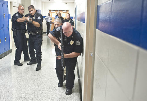 Photo Gallery: Police training at Danville High School.