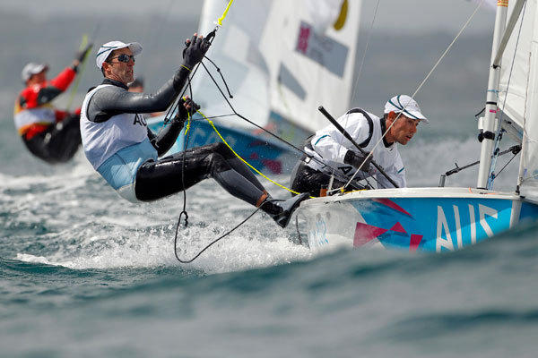 Australia's Mathew Belcher and Malcolm Page sail during the fourth race of the men's 470 sailing class at the London 2012 Olympic Games in Weymouth and Portland, southern England, August 3, 2012.
