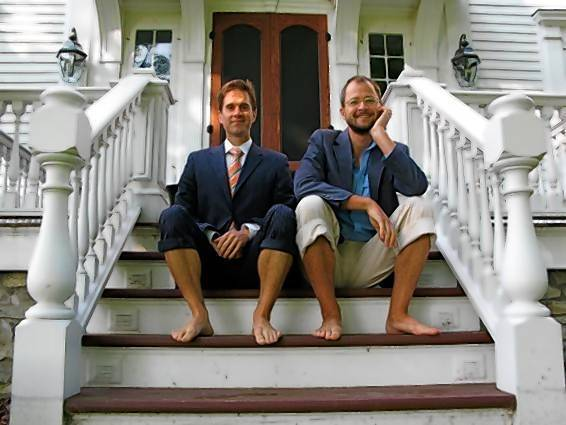 Brent Ridge and Josh Kilme-Purcell on the steps of Beekman Mansion.