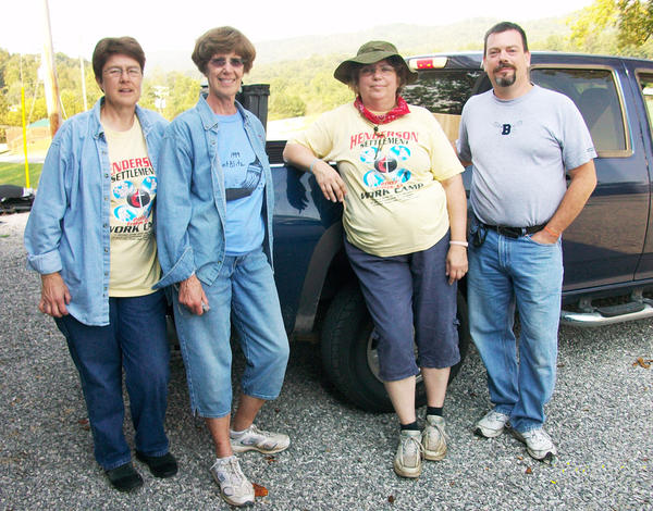 Mission team members Sally Koerber (from left), Jan Gibbs, Gail Seidel and Mike Behrendt are pictured at the Henderson Settlement work camp.