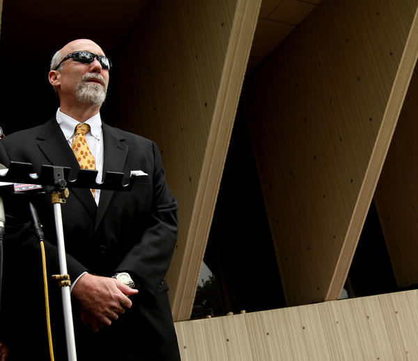 Drew Peterson's defense attorney Joel Brodsky waits to speak to the media at the close of court Thursday.