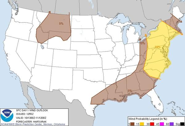 Maryland is in an area that could see damaging winds in storms Friday evening.
