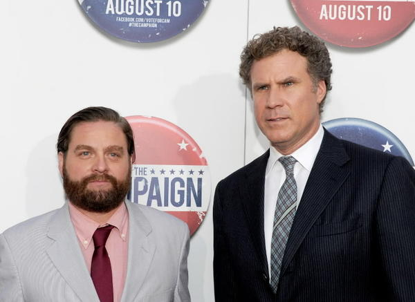 "Zach Galifianakis and Will Ferrell, co-stars of ""The Campaign."""