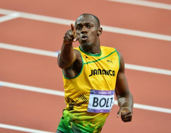 Jamaica's Usain Bolt celebrates after winning the men's 200m final at the athletics event during the London 2012 Olympic Games.