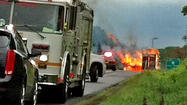 Tractor-trailer on fire