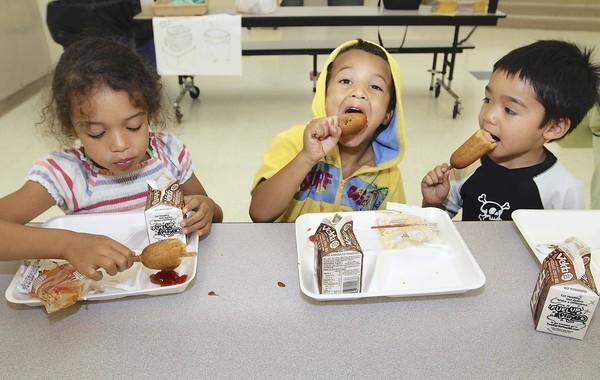 The increase in school meal prices will not affect students who qualify for free or reduced meals, which will remain at 30 cents for breakfast and 40 cents for lunch. Above, Jamariah Casteel, 5, Geovanni Casteel, 4, and Michael Paygane, 5, enjoy a free lunch while attending summer camp at S.D. Spady Elementary School in Delray Beach. The meal was provided by the federally funded Summer Food Service Program, which aids children, regardless of family income, all over the state. Visit SummerFoodFlorida.org.