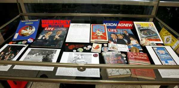 "There are three cases of memorabilia at the ""Bad Moon Rising: Baseball and the Summer of '68"" exhibit at the Burbank Central Library."