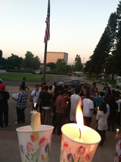 The candlelight vigil at UC Irvine on Aug. 9 for victims of the Wisconsin temple shooting.