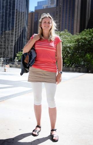 Monica Hesjedal of Norway wears a pair of white leggings under a skirt.
