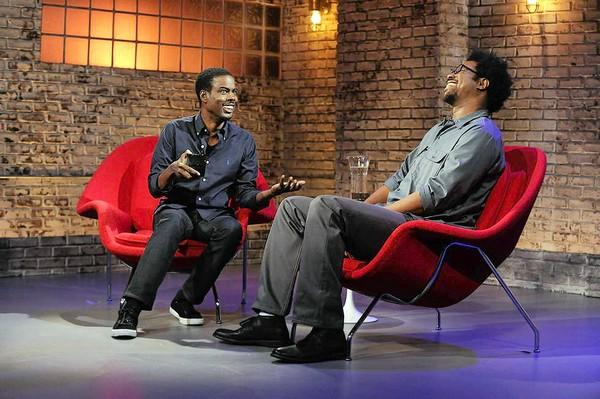 "Executive producer Chris Rock, left, is W. Kamau Bell's first guest on ""Totally Biased With W. Kamau Bell."""