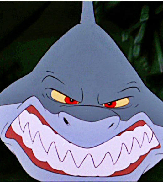 From 'Jaws' to 'Jabberjaw': 25 memorable sharks from pop culture: Glut, we hardly knew ye. We just get to see this Disney great white shark for a moment when he chases little Flounder only to get his head caught in a steering wheel.