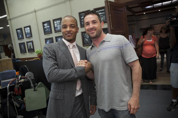 Brian Sher and T.I. on the set of 'Boss' in Chicago. The rapper-actor joined the cast for season 2.
