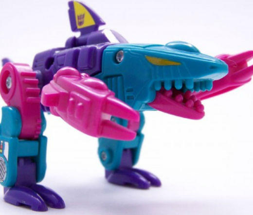 From 'Jaws' to 'Jabberjaw': 25 memorable sharks from pop culture: Another shark-like creature from the Transformers, this guy changes into a shark-monster. The hot pink accents make him especially ferocious.