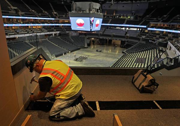Construction worker Steve Law helps prepare Time Warner Cable Arena in Charlotte for next month's Democratic National Convention. North Carolina is the least unionized state in the country.