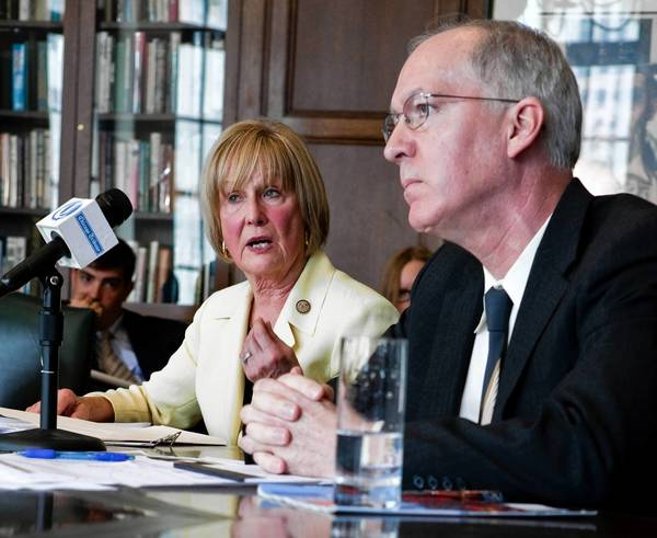 11th Congressional District candidates Judy Biggert and Bill Foster talk to the Tribune editorial board Friday.