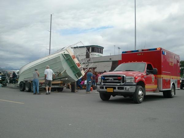 Valdez firefighters say a man was pinned beneath a boat that slid off a trailer at the local boat yard Friday afternoon. Firefighters were called to the scene at about 3:40 p.m.; the man was stabilized in Valdez and medevaced to Anchorage.