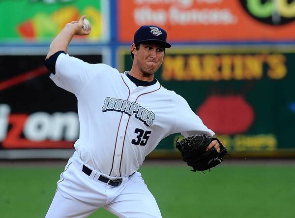 Lehigh Valley IronPigs' pitcher Jonathan Pettibone (35) delivers a pitch during their game with the Syracuse Chiefs at Coca-Cola Park in Allentown on Friday night .